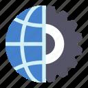 cogwheel, globus, internet, options icon
