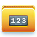 123, folder, white numbers on blue background icon