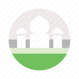 green, islamic, minaret, mosque, qoba, three, tower icon