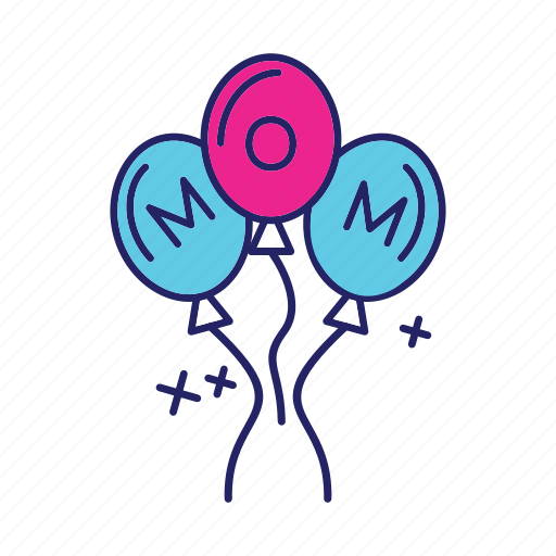 balloons, day, happy, mom, mothers icon