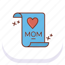 day, happy, letter, mothers icon