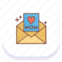 day, happy, letter, mom, mothers icon