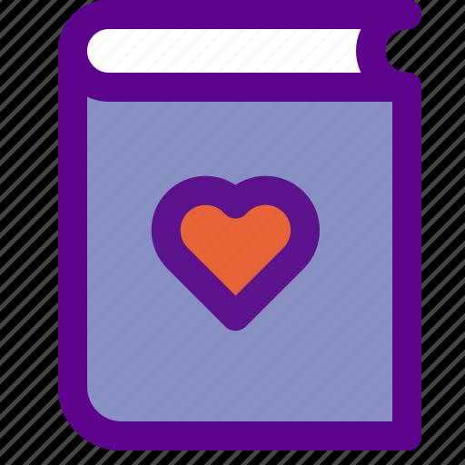 book, heart, lady, love, novel icon
