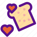 bread, cake, heart, lady icon
