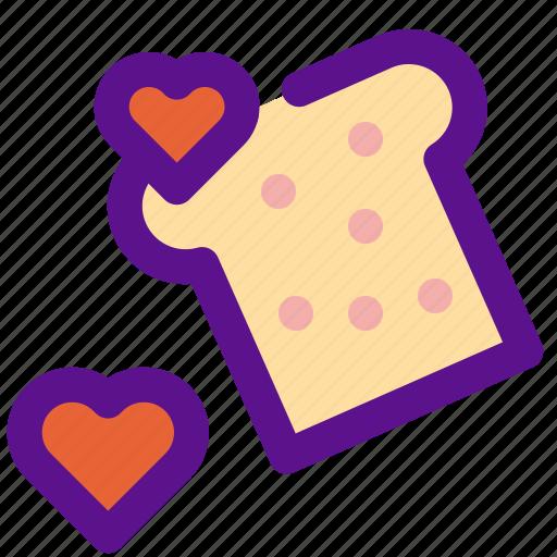 bread, cake, heart, lady icon