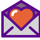 heart, lady, mail icon