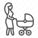 carriage, woman, love, baby, mother, mom, child