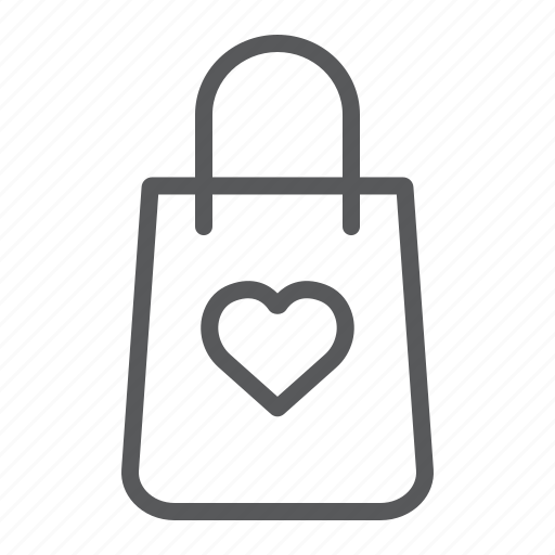 bag, gift, heart, love, package, shopping icon