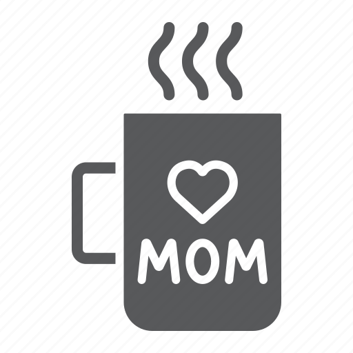 cup, heart, inscription, love, mom, mug, utensil icon