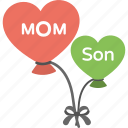 balloons, greeting, mom heart, mother son relation, son heart icon