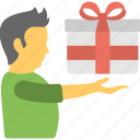 boy gift, gift box, holding gift box, presenting gift, receiving gift icon