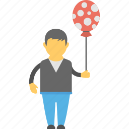 balloon with boy, child with balloon, kid and balloon, kid holding balloon, playing boy icon
