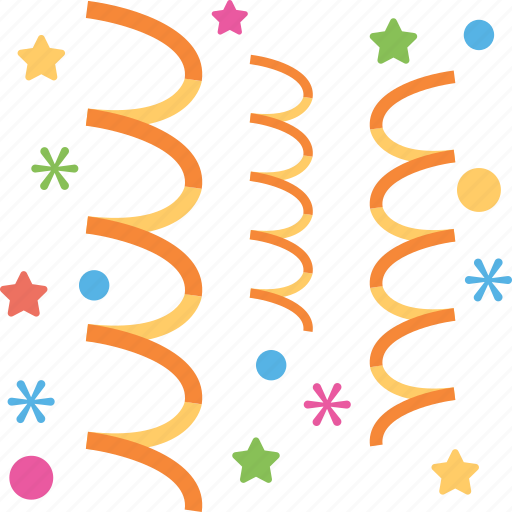 celebration sign, curling ribbons, decoration element, decoration streamers, party decoration icon