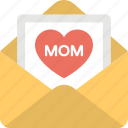 envelope, letter, mom greeting card, mom love, showing love icon
