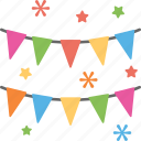 bunting flags, celebration symbol, event decoration, festive decor, holiday flags icon
