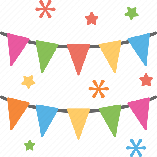 bunting flags, celebration symbol, event decoration, festive decor, holiday flags icon