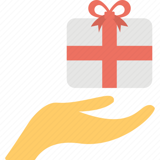 gift, gift box, holding gift box, presenting gift, receiving gift icon