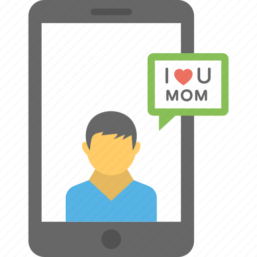 mobile message, mom love, text message, video message, wishing message icon