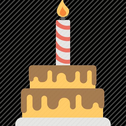 birthday cake, cake, cake with candle, celebration, chocolate cake, greeting icon