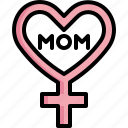 mom, female, gender, heart, woman, symbol, mothers day icon