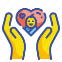 charity, donation, gestures, hand, heart, love, solidarity icon