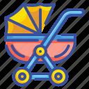 baby, childhood, doll, kid, motherhood, stroller, toy icon