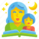 baby, book, fable, kid, mother, read, tale