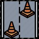 broken, cone, danger, line, transport, transportation, warning icon