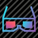 cinema, entertainment, film, futuristic, media, movie, three-dimensional glasses icon