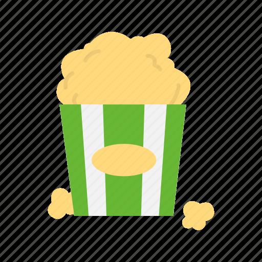 bucket, cinema, food, movie snack, popcorn, snack icon