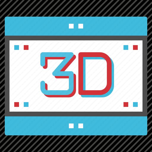 cinema, dimension, movie, screen, video icon