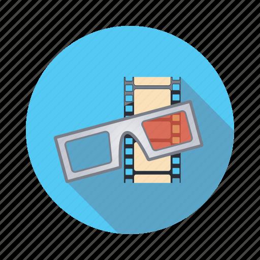 cinema, eyeglasses, glasses, movie, threedimensional icon