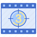 cinema, clock, countdown, opening, timer icon