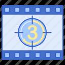 cinema, clock, countdown icon