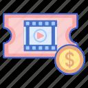 money, movie, price, ticket icon