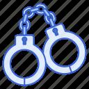 crime, criminal, handcuffs, justice, police icon