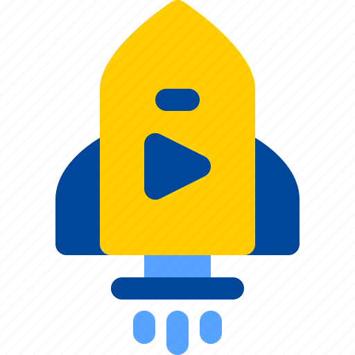 movie, play, release, rocket, space icon