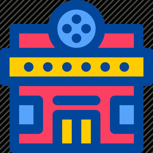 building, cinema, city, landmark, theater icon