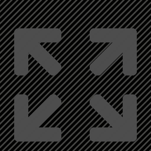 arrow, expand, fullscreen, maximize, movie, screen, video icon
