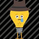 bulb, char, cry, emoji, sad