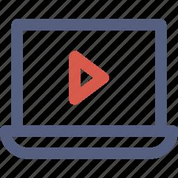 laptop, player, screen, tutorial, video icon icon