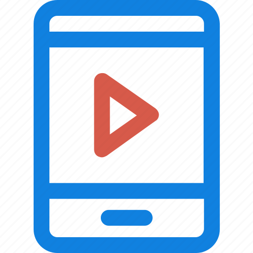 audio player, media player, mobile screen, music player, play sign, video player icon icon