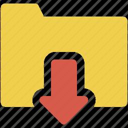 down, download, folder icon icon