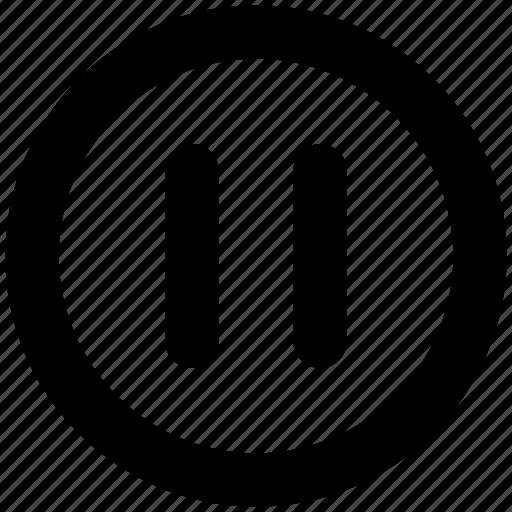 button, circle, icon, multimedia, pause icon