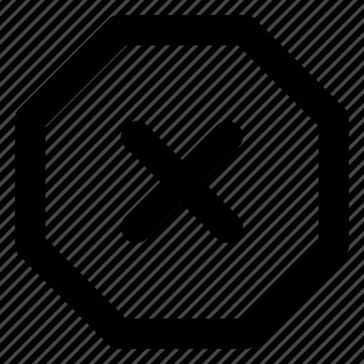 cancel, close, cross, delete, octagon, remove, trash icon