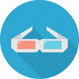 blue, glasses, multimedia, red, three-dimensional, vision icon