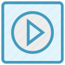 buttons, media button, multimedia, play, play button, player, video icon