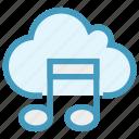 cloud, multimedia, music, musical note, storage, wireless