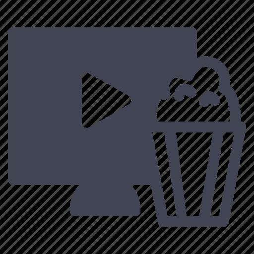 movies, multimedia, popcorn, screen, television icon