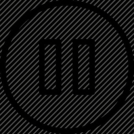 audio, media, multimedia, music, pause, video icon